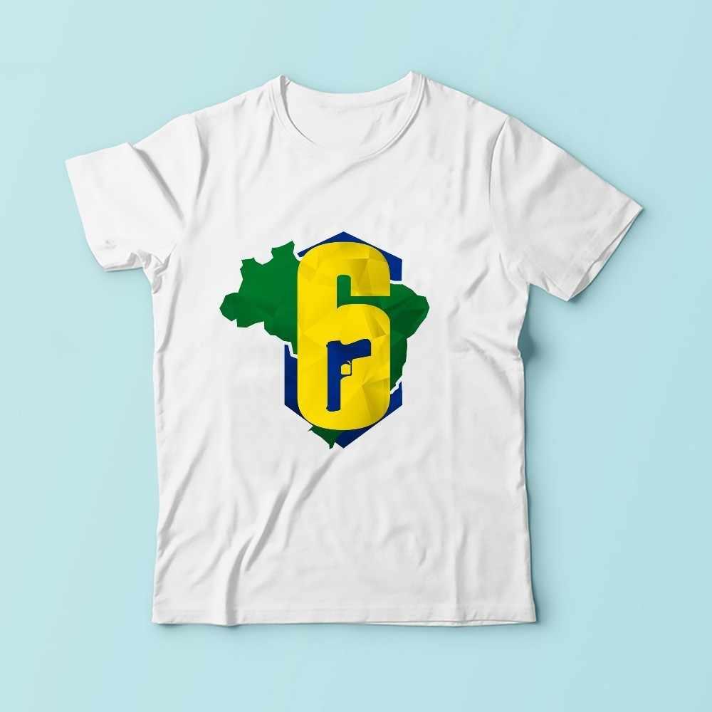 Cầu vồng sáu 6 Brazil thiết kế áo thun nam giới mùa hè 2018 mới giản dị màu trắng sáng tạo mát homme t áo sơ mi độ nét cao không có keo in