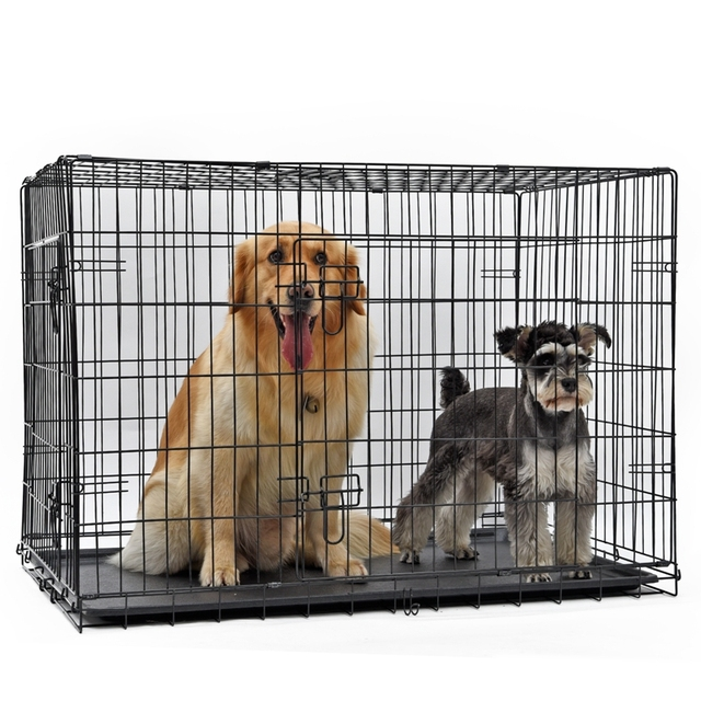 Products For Animals Pet Dog Iron Crate Double-Door Pet Kennel Collapsible Easy Install Fit Your Pets 4 Sizes Pet House