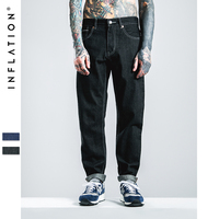 INFLATION Men S Selvage Denim Black Jeans Oversize 28 40 New Fashion Solid Stretch Skinny Jeans