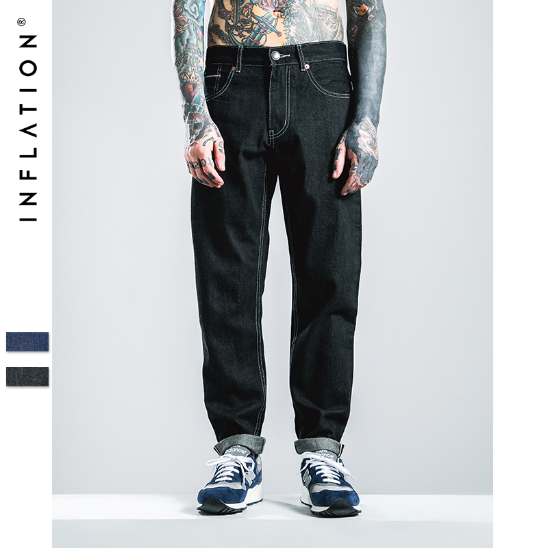INFLATION Men's Selvage Denim Black Jeans Oversize 28-40 New Fashion Solid Stretch Skinny Jeans Feet Pants Male Casual Jeans