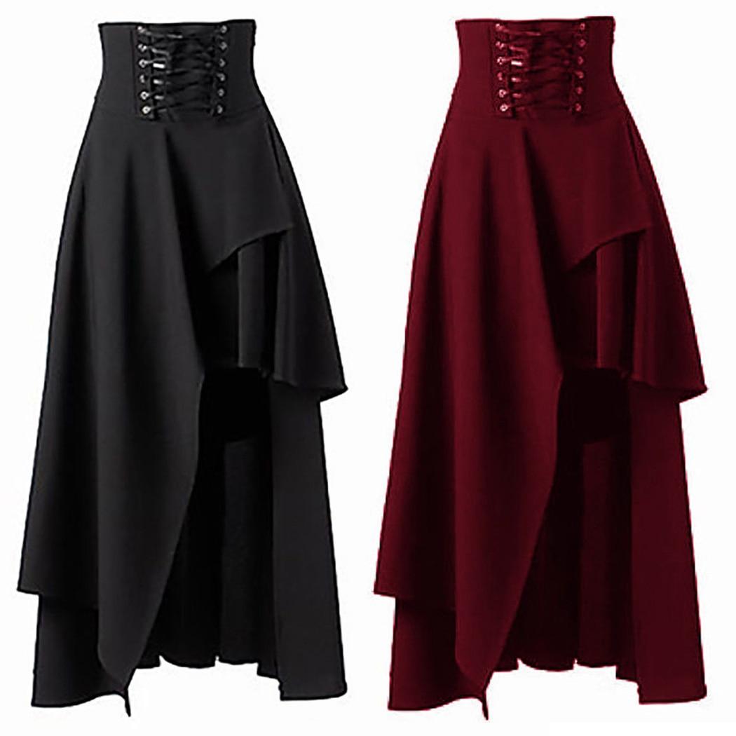 Womens Black Lolita Double Layer Hi Waist Lace Skirt Steampunk Victorian Costume