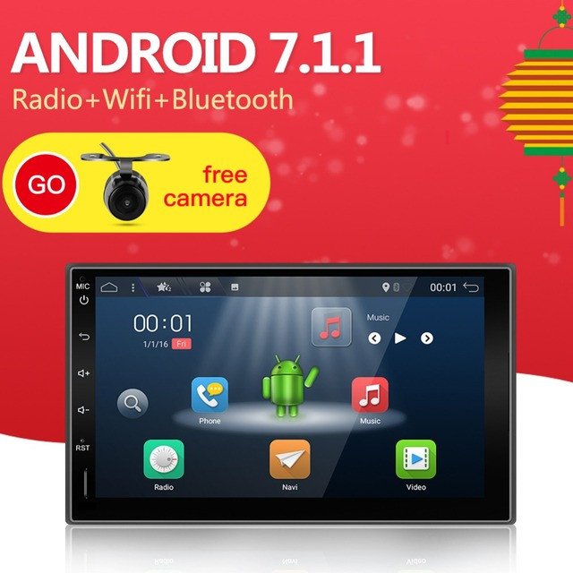 2din Android 7.1 Universal Touch Car PC Tablet double Audio 7'' GPS Navi Car Stereo Radio USB No DVD Navigation Video Capacitive