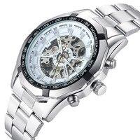 Automatyczny zegarek męska zegarki Klasyczne Luksusowe Przezroczysty Szkielet Mechaniczne Zegarki Marka Wojskowy Relogio Masculino