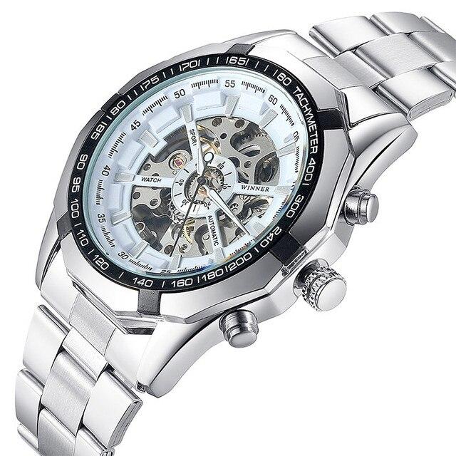 34eb2a43f2a Relógio automático relógio de pulso dos homens Clássicos De Luxo  Transparente Esqueleto Mecânico Relógios de Marca