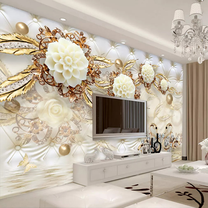 Custom Wall Murals 3D Golden Circle Ball Jewelry Flower Living Room Sofa TV Background Photo Wall Painting Waterproof Wallpaper