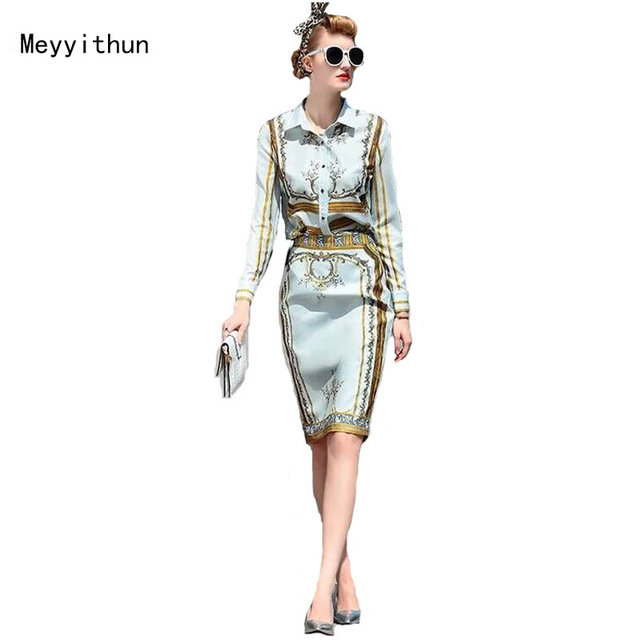 New Arrival Long Sleeve Printed Shirt+Printed Slim Skirt  Skirt Suit 160424YL01