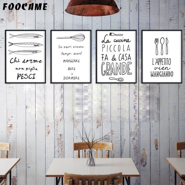 Foocame Ikan Linear Peralatan Makan Dapur Minimalis Poster Dan Cetakan Seni Kanvas Lukisan Dinding Dekorasi Rumah