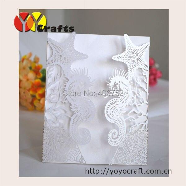 Laser cut wedding invitations seahorse design suitable for summer 10702 107 filmwisefo