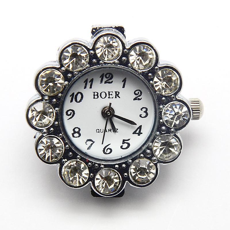 10pcs Alloy Rhinestone Watch Heads Flower Watch Faces, Platinum, 26x8.5mm, Hole: 1mm | Fotoflaco.net
