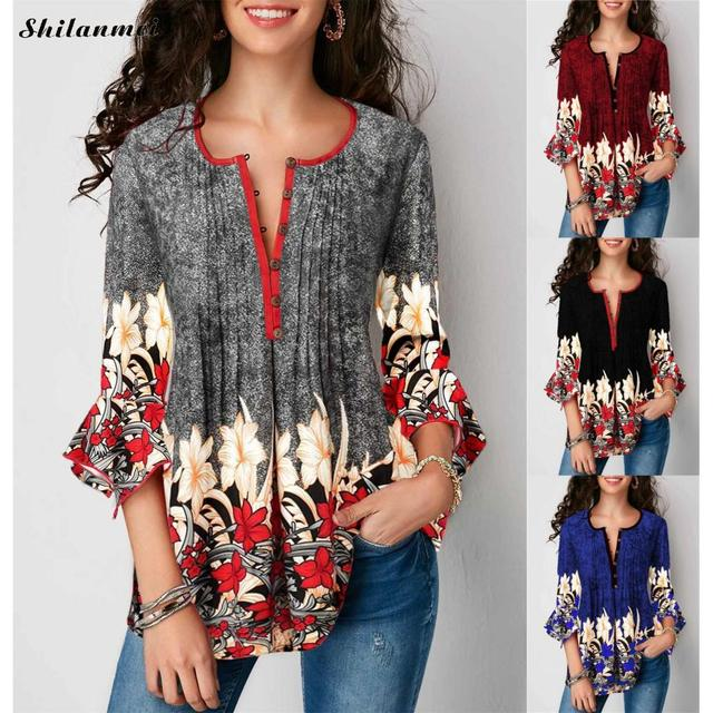 Women Blouse Three Quarter Sleeve Floral Print Causal Loose Tunic Women Blouse Shirts 2019 Fashion Plus Size Women Clothing 5XL