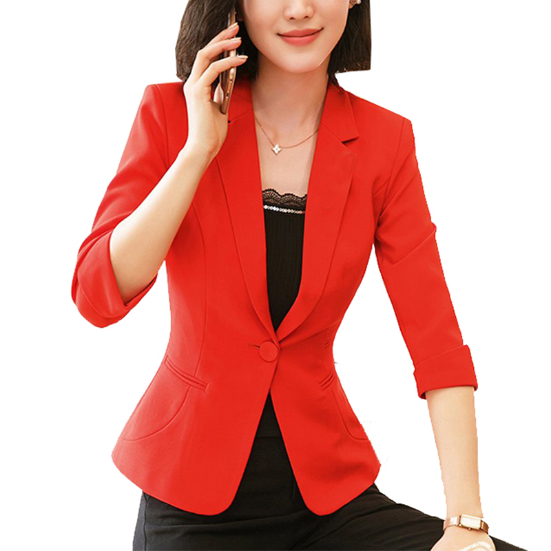 Autumn Women Blazers And Jackets Candy Color Jacket Half Sleeve Slim Suit One Button Women Jacket Big Size S-3XL Blazer