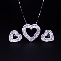 Love Heart shape Jewelry set pendant with earring set Bridal Sets Cubic zirconia Women's fashion Jewelry Sets SGY0011122