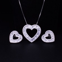 hot deal buy love heart shape pendants necklaces stud earrings jewelry sets cubic zirconia women's fashion jewelry sets sgy0012242gb
