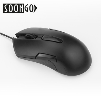 SOONGO Computer Mouse Mini Gaming Black Optical Mouse USB Wired Mice Ergonomics For Gamers Office PC Laptop noyokere mini cute wired mouse usb 2 0 pro office mouse optical mice for computer pc mini pro gaming mouse