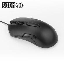 SOONGO mysz komputerowa Mini z grą czarna mysz optyczna USB przewodowy myszy ergonomia dla graczy biuro PC Laptop