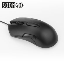 Soongo 컴퓨터 마우스 미니 게임 블랙 광학 마우스 usb 유선 마우스 게이머 용 인체 공학 office pc laptop