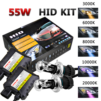 55W HID Xenon H4 Bulbs Kit H4 Xenon Bi-xenon Headlight Bulb Ignition Unit Conversion Kits Slim Ballast+h4 Xenon h4 Bulbs Bixenon rockeybright h4 bi xenon headlight bulb controller hid xenon bulb h4 hi lo headlamp relay cable wiring harness for h4 xenon lamp