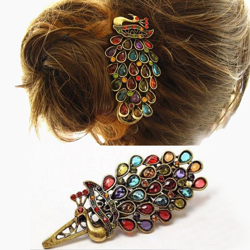 LNRRABC Simple Vintage Women Fargerike Crystal Rhinestones Peacock Hair Pin Hair Clip Gift