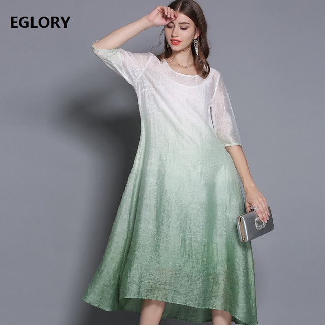 High Quality Brand Spring Summer Dress 2019 Women Vintage Gradient Color Print 3/4 Sleeve Mid-Calf Casual Silk Linen Dres XXXL