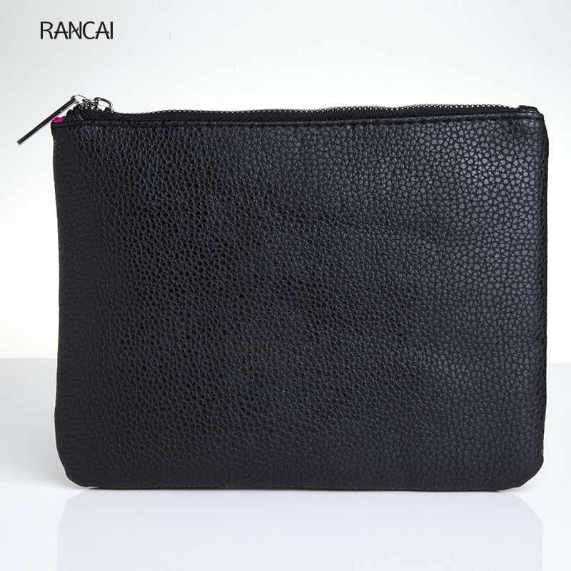 RANCAI 1pcs Black Makeup Brushes Clutch Make up eyes Brushes Bag Women Cosmetic Case PU Leather