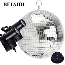 BEIAIDI Dia30CM 12'' Rotating Reflective Disco Mirror Ball With Motor RGB Disco Beam Pinspot Light Party Wedding KTV Disco Light(China)