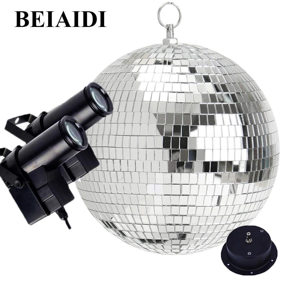 BEIAIDI Dia30CM 12'' Rotating Reflective Disco Mirror Ball With Motor RGB Disco Beam Pinspot Light Party Wedding KTV Disco Light