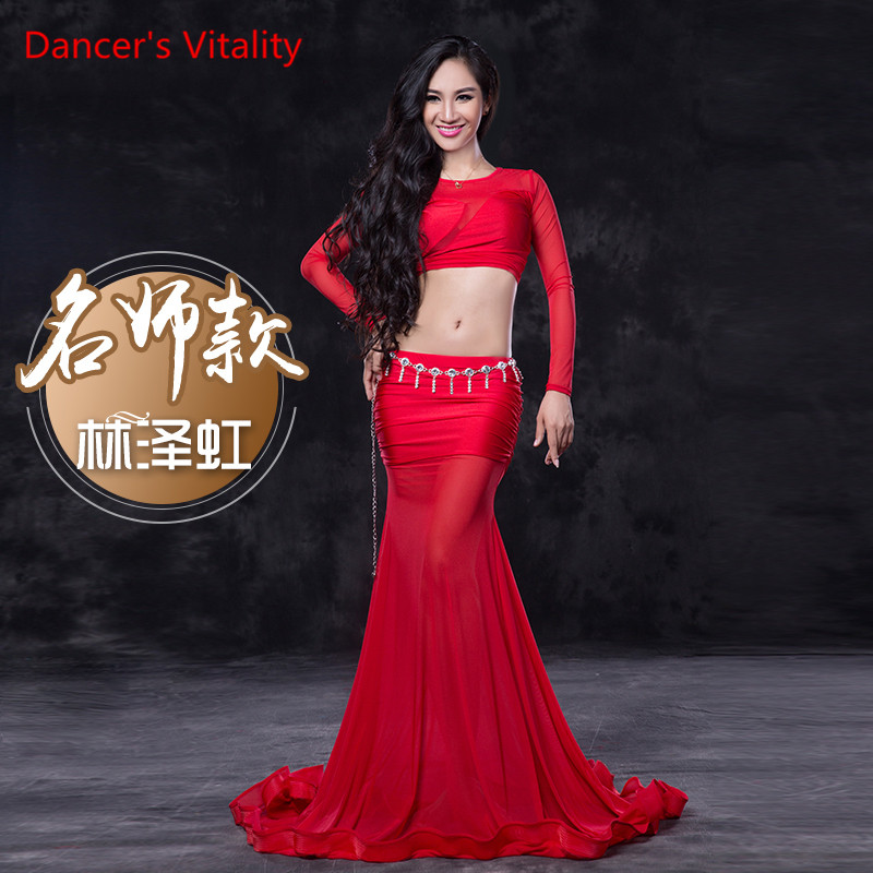 Dancer's Vitality 2017 New Arrival Belly Dance Costumes Long Sleeves Perspective Mesh Bellydance Set For Oriental Dance Costumes