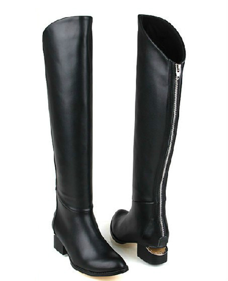 15aac40ef676 back zip genuine leather flat black boots for women knee high woman knight boots  flat heels