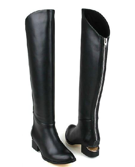 back zip genuine leather flat black
