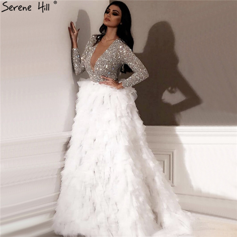 Dubai V-Neck White Luxury Sexy Evening Dresses 2019 Long Sleeves Sequined Tiered Evening Gowns Serene Hill LA6574
