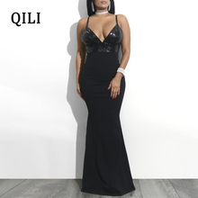 QILI V-neck Sequined Mermaid Dress Women Strap High Waist Long Maxi Dresses Boho Style Sexy Party Elegant Lady Female Robe