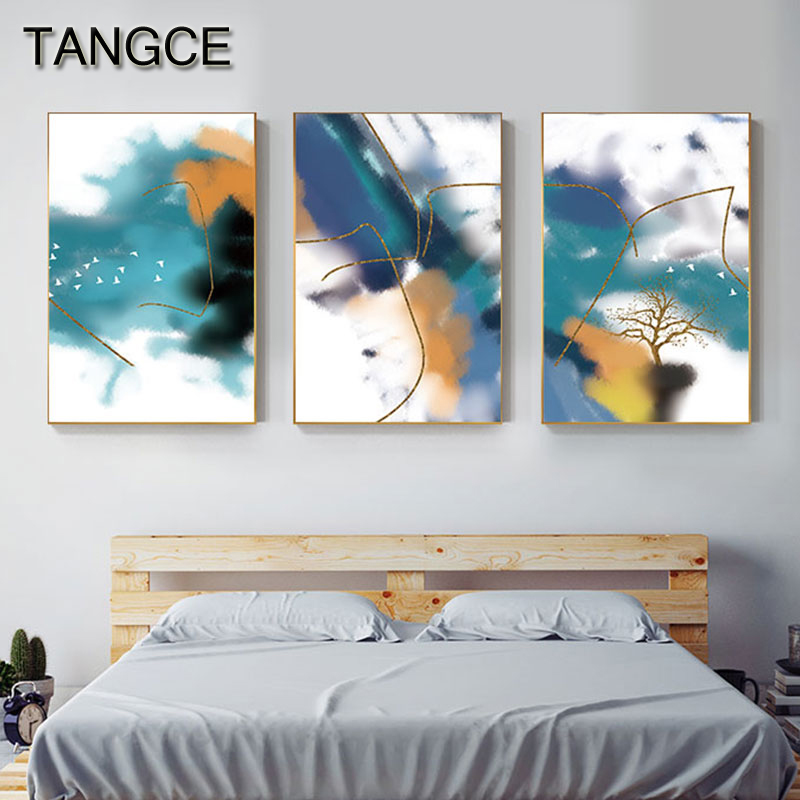 Abstract Blue Yellow Green Foggy Canvas Painting Modern Wall Art Picture for Living Room Aisle Nordic Print n Poster Home Decor