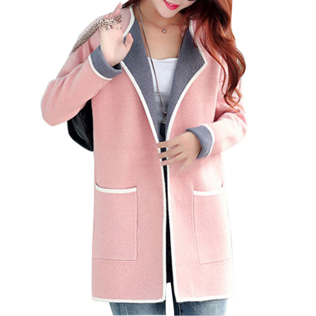 2016 Inverno Médio Longo Fino Casacos de Lã das Mulheres Casaco de Manga Comprida Patchwork Grandes Bolsos Moda Knitting Sweater Casacos Plus Size