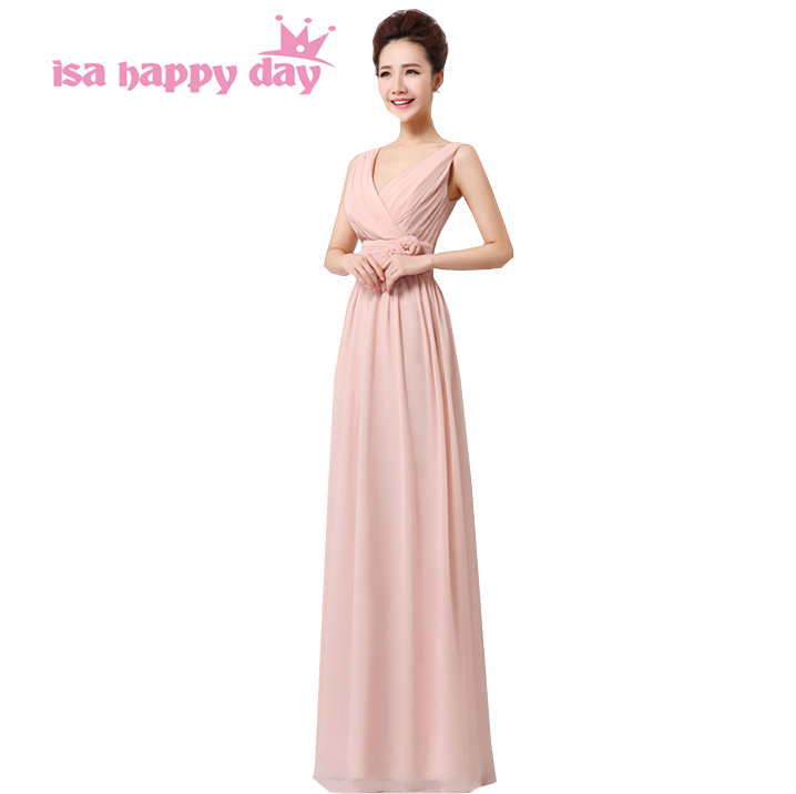 2018 new arrival pink multi style teen v neck chiffon bridesmaid ...