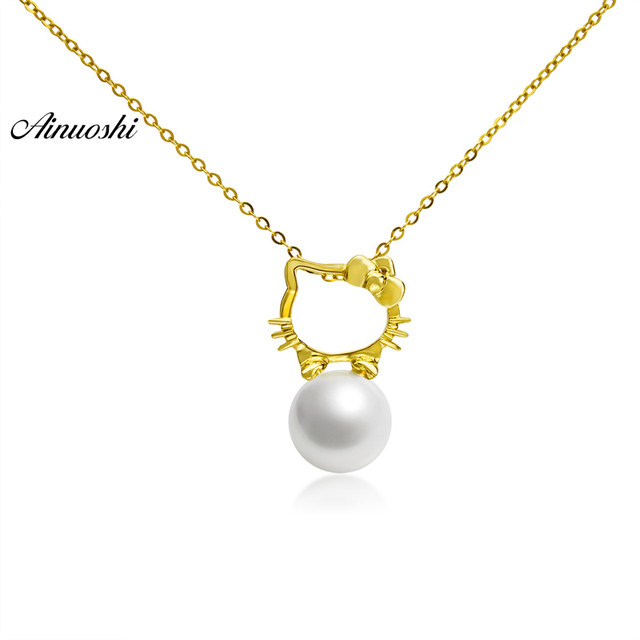 Hello Kitty Pendant ALP AINUOSHI 18K Yellow Gold Natural Cultured Freshwater Pearl Link Chain Hello  Kitty Pendant Necklace for Lady
