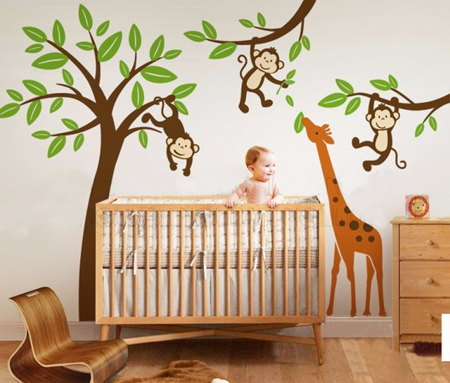 Monkeys Hanging On Tree With Giraffe Wall Decal Nursery Sticker Kids Baby