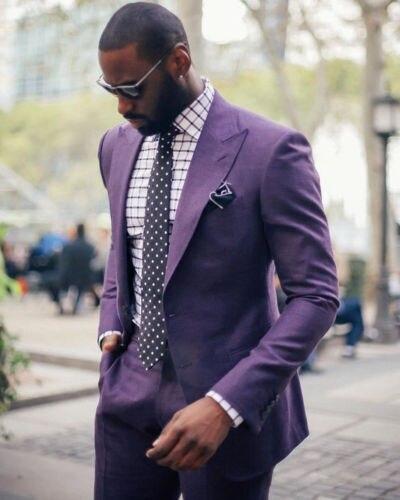 Fioletowy szczyt Lapel dwa przyciski męskie garnitury 4 sztuk Custome Homme Fashion Blazer Terno Slim Fit nowy (kurtka + spodnie + krawat + chusteczki) w Garnitury od Odzież męska na  Grupa 1