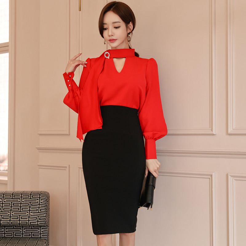 2019 spring New arrival women temperament red shirt and solid pencil skirt comfortable fresh party 2 pieces OL trend women sets-in Women's Sets from Women's Clothing on AliExpress - 11.11_Double 11_Singles' Day 1