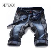 NEWSOSOO Size 28-44 Hot Sale Patchwork Mens Shorts Denim Overalls Mens Pants Casual Straight Washed Jeans Brand Clothing