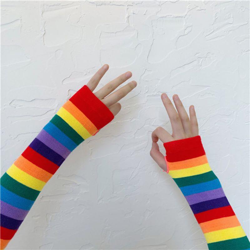 Mujer chica Harajuku codo longitud brazo excluyendo dedos manga más caliente arco iris de color de rayas de punto de protección solar Halloween traje guantes 2019 nuevo NB F160 Gas primavera escritorio 17