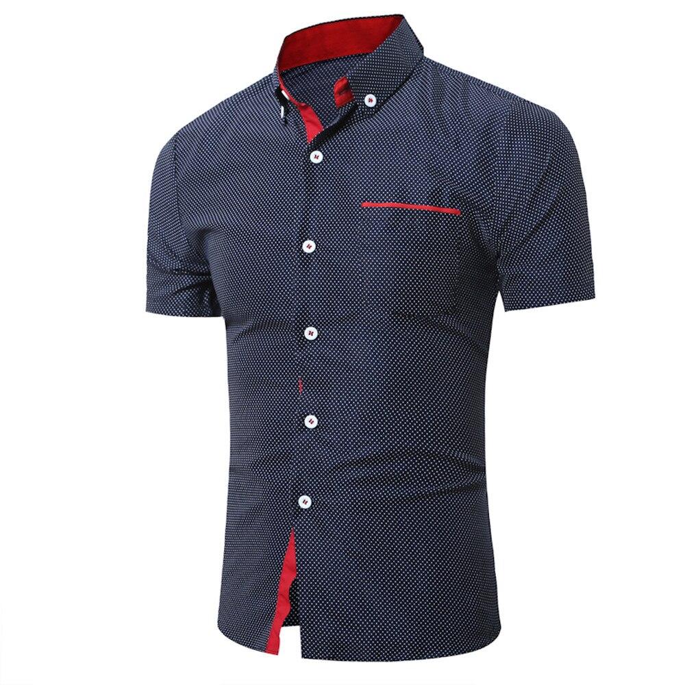 2018 Herren Sommer Casual Kurzarm Shirt Business Dünnes Hemd Dot Print Bluse Top Pull Größe Marke Bluse Dropshipping 1j18 *
