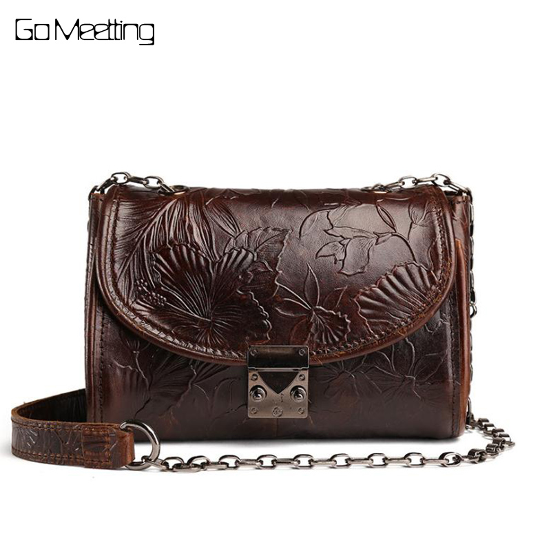 New Vintage Genuine Embossed leather bag ladies head cow leather oil wax skin handbags retro shoulder bag Messenger small bag цена и фото