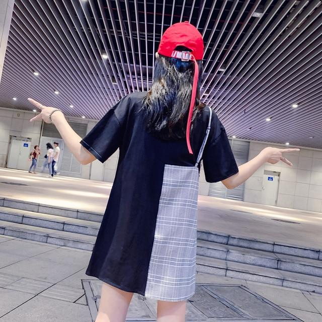 Été femmes T-shirt 2019 nouvelle version coréenne de couleur correspondant impression T-shirt femme lâche ensembles de col rond à manches courtes