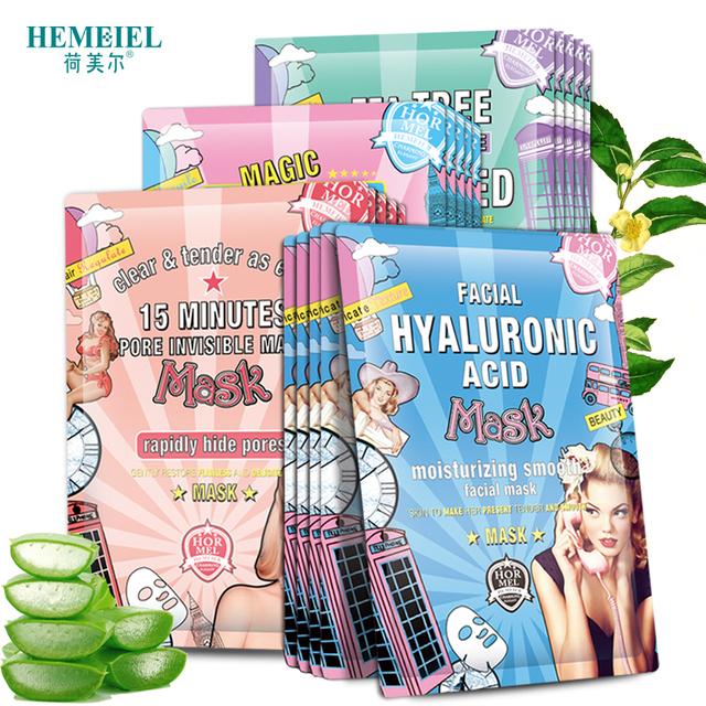 HEMEIEL 3PCS Hyaluronic Acid Face Mask Moisturizing Collagen Korean Mask Sheet Acne Treatment Mask Facial Skin Care Cosmetics