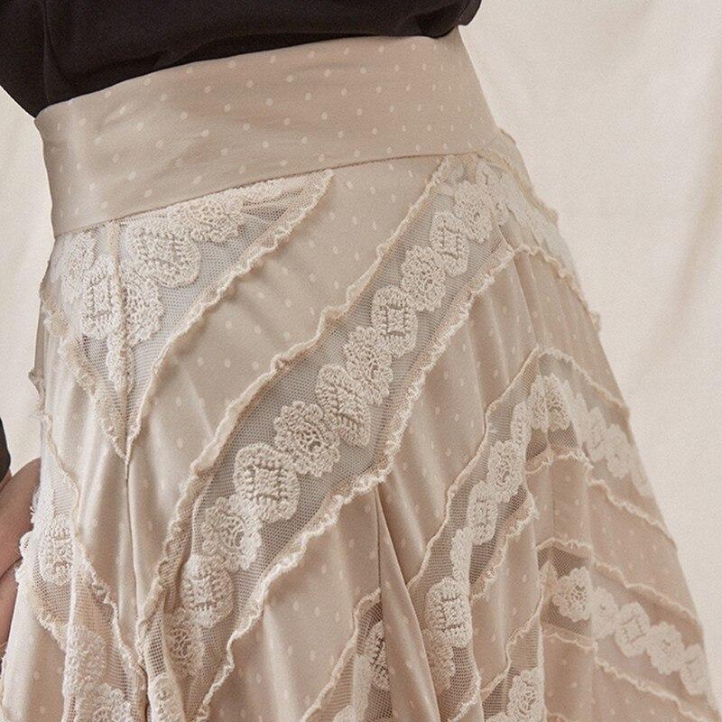 Haute Maille Dentelle Jupe Taille Beige Vintage De Patchwork Femmes Jupes Q810 Asymétrique Automne 2018 Plissée Femme Skirt Mode Vêtements p05YInxwFq