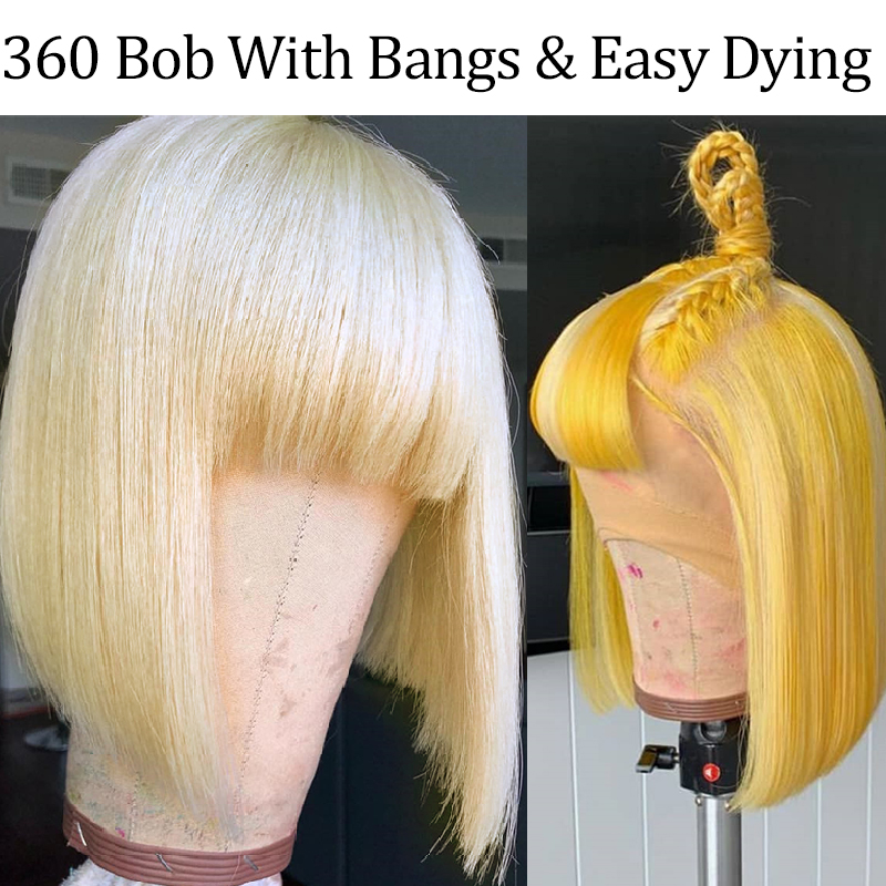 613 Blonde Bob Lace Front Human Hair Wigs With Bangs 360 Lace Frontal Wig Pre Plucked With Baby Hair Brazilian Ever Beauty Remy