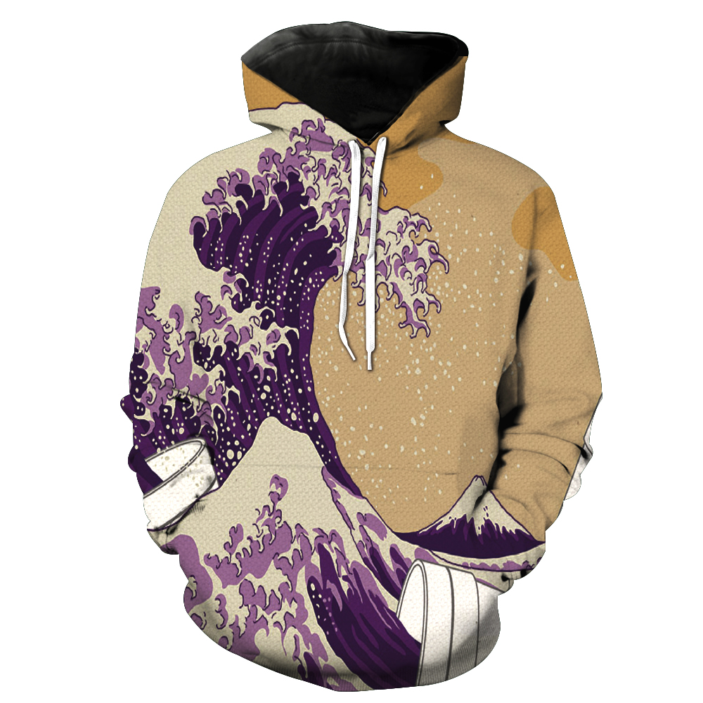 3D Printing Hoodies men Hooded Sweatshirts Waves Two Parts Printed Tracksuits Hoome Tops Unisex Free shipping dropship