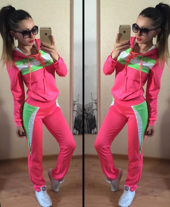 2016 hot sale 2 piece set women Hooded Tracksuit Sport Suit Pullovers Sweatshirt Pant Jogging font