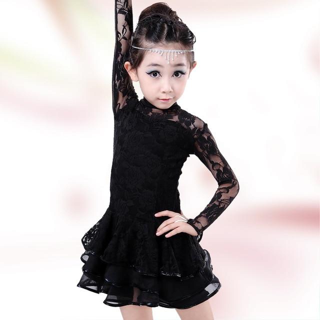 fc1a8809a5583 Rouge noir jaune manches longues Latin danse robe filles dentelle Flamenco  robe Salsa danse