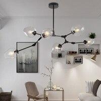 LOFT Industrial Chandeliers Globe Glass Lights Modern Minimalist Design Chandelier Hanging In Living Room Restaurant E27